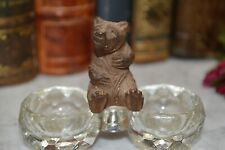 Antique German Black Forest Carved Wood Bear Crystal Salt Spice Cellar