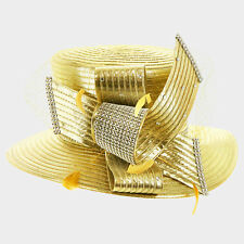 Kentucky Derby Church Gold Feather & Crystal Metallic Satin Hat 321271