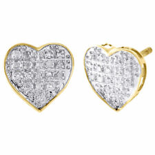 10K Yellow Gold Diamond Heart Studs Ladies Mini 9.80mm Earrings Pave Set 0.10 Ct