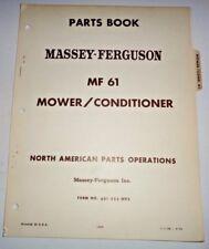 Massey Ferguson MF 61 Mower Conditioner Parts Catalog Manual Book ORIGINAL! 9/68