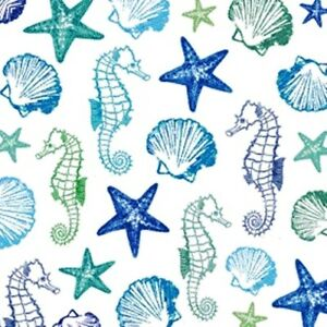 4 x Single 3-ply Paper Table Napkin/Decoupage/Aquarell Seaside/Shells/Seahorse