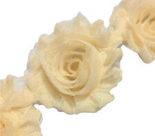 "1 yard cream 2.5"" shabby chiffon rose trim flowers DIY baby headband"