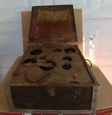 Vintage Antique Wood Machinist Chest Tool Box With Metal Trim