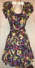 Auth Betsey Johnson Collection Multicolor Floral Silk Flared Dress Sz 4