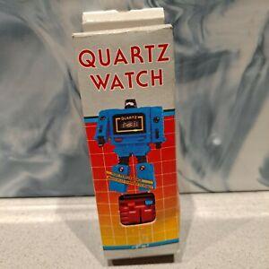 Vintage 80s Retro Red Transforming Robot Quartz Watch Collectors Display