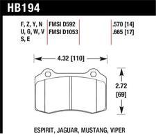 Hawk for 2005-2005 Volvo S40 I HPS 5.0 Rear Brake Pads - hawkHB194B.570