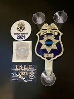 FULLSET: 2021 PBA POLICE GOLD SUPPORTER CAR WINDOW SHIELD + CARD +DECAL STICKERS