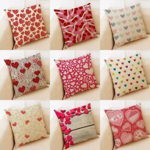 "Cotton Linen valentine's Pillow 18"" Home Cover day Decor Heart Case Cushion"