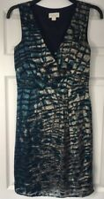 Monsoon Silk Blend Occasion Dress 10 Wedding Races Knee Length Holiday Shimmer