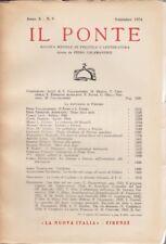 Il Ponte, La nuova Italia, 1954, rivista letteraria, anno X n. 9, Calamandrei