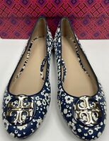 Tory Burch Claire Ballet Flat Printed Tumbled Leather Size:7.5M Color: Navy Blue