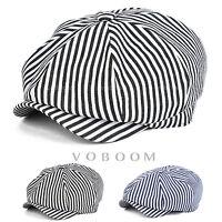 Casquette de Gavroche à rayures en coton pour hommes chapeau de lierre béret