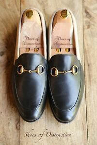 Gucci Black Leather Shoes Brass Bit Loafers Satin Quilted Men's UK 7 EU 8 US 41