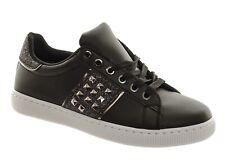 Para Mujeres con cordones detalle con tachuelas Brillo Negro Zapatillas Plimsolls cómodos Bombas De Moda