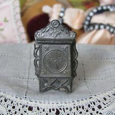 Antique Miniature Dollhouse PEWTER CLOCK Soft Metal Vtg France? Germany?
