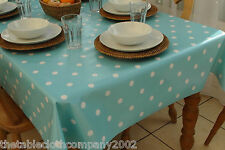 140 x 300cm Rectangle Wipe Clean PVC Tablecloth - Baby Blue Polka Dot