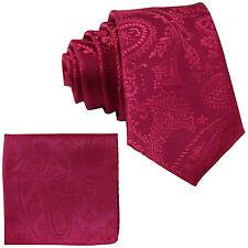 New Men's Polyester Woven Neck Tie necktie & hankie set paisley hot pink wedding