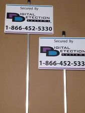 2 - Reflective  DDS Security Yard Signs Mounted on Stakes