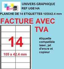 1,400 Etiquettes autocollantes blanches 105 x 42.4mm 100 feuilles a4 UGE14A