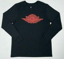 Nike Air Jordan Wings Long Sleeve T-shirt Size M Black Red Bred Dc0679 010