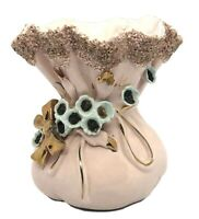 Vintage Lefton Pink Gold Blue Flowers Bag Sack Vanity Vase trinket bowl