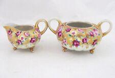 Antique Royal Kinran Nippon Gold Moriage Bead Footed Sugar and Creamer Set Roses