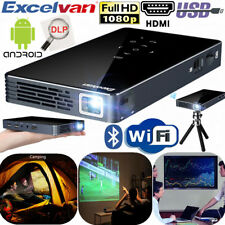 Mini Portable DLP Android 7.1 Smart Projector WiFi Bluetooth 100 ANSI Lumens USB