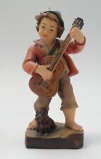 Wood Carved Figurine Statue Boy Guitar Dog Pema Woodcarvings Italy Italian anri
