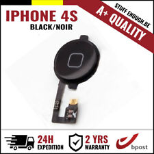 A+ Home Nappe Replacement Button Bouton Assembly &Flex Cable Black For iPhone 4S