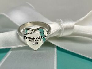 Rare Tiffany & Co. Sterling Silver 925 Return To 12mm Tiffany Heart Signet Ring