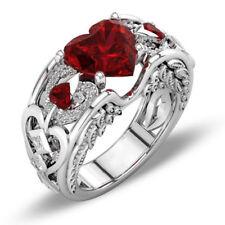 Elegant 925 Sterling Silver Heart Shape Ruby Garnet Engagement Ring Size: 9.5