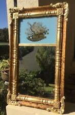 New listing Antique Early American Federal Gilt Wall Mirror w Reverse Painted Top / Beauty