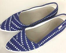 Sanuks Women's Size 8 Slip on Flats shoes Navy white