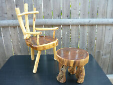 Great Pair Rustic Child's Chair & Stool Log Cabin Wood Furniture Doll