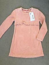 M&S LIGHT PINK VELVET DRESS WITH LONG SLEEVES & RUFFLE ACROSS CENTRE -4-5y BNWT