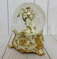 Macys Holiday Lane Snow Globe Music Box White Angel Plays Silent Night Christmas