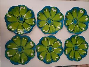 """6 Pier 1 Imports Melamine 8"""" Salad Plates Turquoise Blue with Green Flower"""
