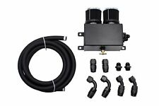 1200ml Engine Motor Oil Catch Canister Dual Baffle Twin Filter & Hose Kit Black