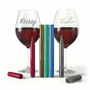 Wine Glass Marker Pens - Party Pack of 5 Metallic Colors Wine Charm USA SELLER