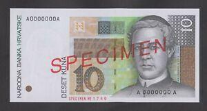 CROATIA  10 Kuna 1995 UNC  SPECIMEN   P36s  Genuine SPECIMEN banknote  VERY RARE