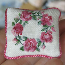 Dollhouse ARTISAN MICRO PETIT POINT PILLOW Vtg Miniature Needlepoint Tiny Roses