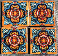 "4~Talavera Mexican Pottery Tile 2"" Classic Traditional Gold turquoise red white"