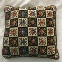 Green Velvet Back Floral Checker Vintage Throw Pillow Back White Pink Yellow 14""