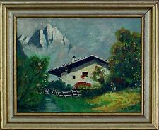 Top Gemälde mit Rahmen ,signiert Fredi , datiert 66, Almhütte in den Alpen  xx
