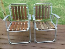 Set Of 2 Vintage 1960's Mid Century Folding Aluminum Red Wood Slat Lawn Chair