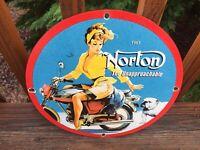 "Vintage Norton Motorcycles Heavy Porcelain Sign Gas & Oil Sign 12"""