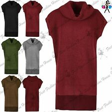 Acrylic Cowl Neck Sleeveless Jumpers & Cardigans for Women