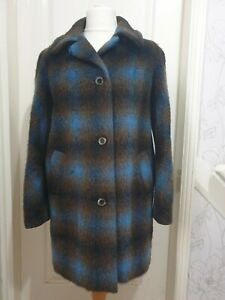SNUGCOAT Blue/Brown Check 100% Mohair Coat- Vintage 1960's- Approx UK 16-18