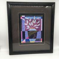 "Foil Art Titled: ""Elan"", Signed, Matted And Framed, 16"" X 16"" Mid Century Modern"
