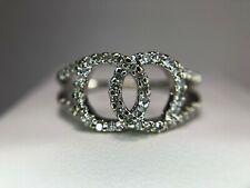 14k White Gold Natural Round Brilliant Diamond Knot Love Ring 1/2 ct